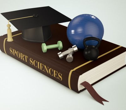 one book with a mortar board, a kettlebell, dumbbells and a fitness ball, concept of faculty of sport sciences (3d render)